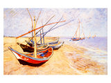 Fishing Boats on the Beach at Saints-Maries, c.1888 Giclee Print by Vincent van Gogh