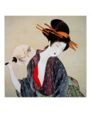 Japanese Geisha with Fan Giclee Print by Edo School Painters