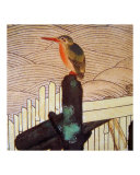 Bird on Piling Edo Japan Giclee Print by Edo School Painters