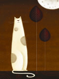 Feline and Two Leaves Print by Jo Parry