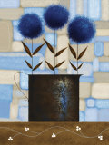 Study of Chrysanthemums in Blue Art by Jo Parry