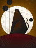 Cat and the Moon I Kunst van Jo Parry
