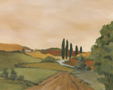 Sunny Tuscan Road Poster by J. Clark