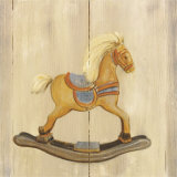 Rocking Horse with Blue Saddle Art by Catherine Becquer