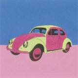 Pink and Green Volkswagon Bug Prints by Miriam Bedia