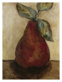 Red Pear on Beige Poster by Nicole Etienne