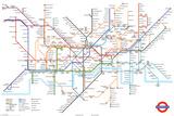 Londýn, mapa metra (text vangličtině) Plakát