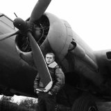 """Actor Steve McQueen Filming """"The War Lover"""" Standing by Flying Fortress at RAF Bovingdon Aerodrome Photographic Print"""