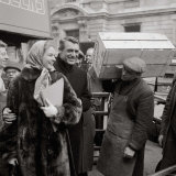 Ingrid Bergman and Cary Grant, Filming In Covent Garden, London, December 1957 Photographic Print