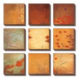 Neun Quadrate mit Mohnblumen Leinwandset von Don Li-Leger
