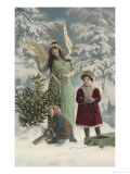 Helpful Angel Accompanies Two Children into the Woods to Help Them Choose Their Tree Giclee Print