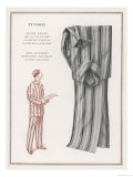 Pair of Elegant Striped Pyjamas and a Man Shown Modelling Them Giclee Print