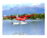 Red Floatplane landing in Anchorage Alaska Photographic Print by Olga Curd