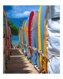 Row of Colorful Surfboards, Waikiki Beach Photographic Print by George Oze