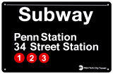 Subway Penn Station- 34 Street Station Tin Sign