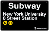 Subway New York University- 8 Street Station Tin Sign