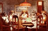 Siete perros jugando al póquer Cartel de chapa