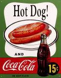 Coca Cola: perrito caliente Cartel de chapa