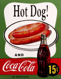 Hot Dog and Coca Cola Placa de lata
