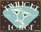 Twilight Lounge Tin Sign by B. J. Schonberg