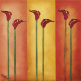 Six Red Lilies Print by Peggy Garr