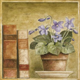 Potted Flowers with Books III Print by Eric Barjot