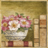 Potted Flowers with Books IV Prints by Eric Barjot