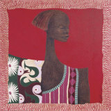 African Pattern Portrait II Prints by Mireille Turcot