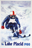 Lake Placid 1980 - Skier Text Collectable Print by John Gallucci