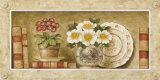 Potted Flowers with Plates and Books III Poster by Eric Barjot