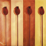 Four Red Tulips Posters by Peggy Garr