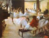 バレエ教室(らせん階段のある踊りの稽古場) 高品質プリント : エドガー・ドガ