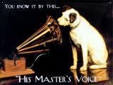 La voix de son maître, label de musique anglais - His Master's Voice Plaque en métal