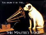 His Masters Voice Emaille bord