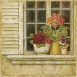 Floral Arrangement in Windowsill I Print by Herve Libaud