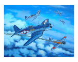 Corsair and Zeros ,1943 Giclee Print by jack connelly