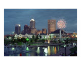 Indianapolis Skyline at Night with Fireworks Photographic Print by Anna Maria Miller