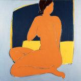 Nu Bleu Sur Fond Jaune Prints by Véronique Laroque
