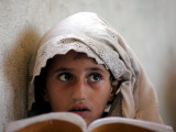 Small Girl Takes Lessons at the Nangalam High School in Nangalam, Eastern Afghanistan Photographic Print