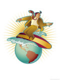 Businessman Surfing the Planet Earth Prints