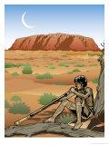 An Australian Aborigine Playing a Didgeridoo Poster
