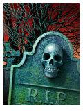Skull on Headstone Poster