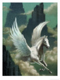 Pegasus Flying Through Clouds Poster