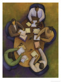An Overhead Look at a Meeting Between Three Business People Prints