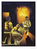 Firemen Entering a Burning Building Reproduction procédé giclée