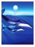 Whales Swimming Affiches