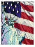 Statue de la Liberté avec drapeau américain Affiche