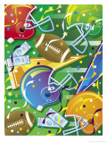 Texture, Football Elements, Grouped Elements Affiche