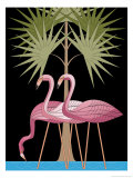 Three Pink Flamingos Giclee Print