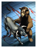 Bull and Bear Fighting Giclee Print